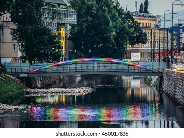 Sarajevo, Bosnia and Herzegovina - August 23, 2015. Lights at Velma's Bridge over Miljacka River in Sarajevo