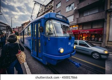 Sarajevo, Bosnia and Herzegovina - August 23, 2015. Blue tramway at Obala Kulina Bana Street in Sarajevo