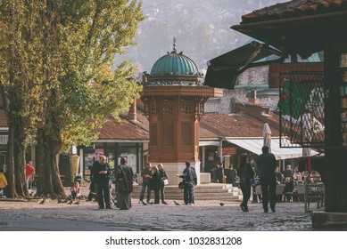 Sarajevo, Bosnia and Herzegovina - August 24 2017: Bascarsija, Sarajevo's old bazaar and the historical and cultural center of the city