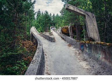 Sarajevo, Bosnia and Herzegovina - August 24, 2015. Abandoned Olympic Bobsleigh and Luge Track, built for the XIV Olympic Winter Games in 1984