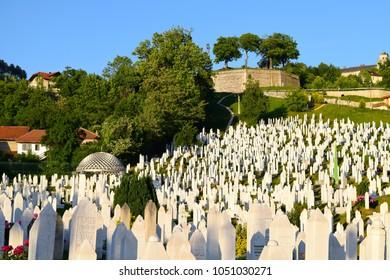 SARAJEVO, BOSNIA HERZEGOVINA - CIRCA JUNE 2015: View across Kovaci Cemetery to the Yellow Bastion