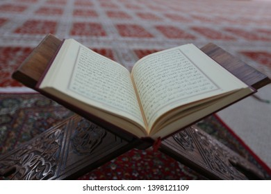 Sarajevo, Bosnia and Herzegovina, Istiqlal mosque, december 2015.  Holy islamic book Koran opened inside beautiful mosque.