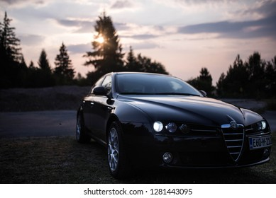 Sarajevo, Bosnia and Herzegovina - July, 21, 2017: Alfa Romeo 159 S Italian Car Purple Sunset On Summer Night
