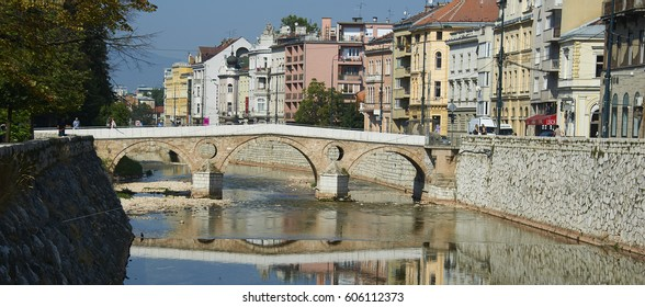 SARAJEVO, BOSNIA AND HERZEGOVINA - July 28, 2012 :  Latin bridge on Miljacka river. This is where Archduke Franz Ferdinand of Austria was assassinated in 1914.
