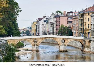 SARAJEVO, BOSNIA AND HERZEGOVINA - July 28, 2012 :  Latin bridge on Miljacka river. This is where Archduke Franz Ferdinand of Austria was assassinated in 1914.
