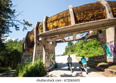 Sarajevo, Bosnia and Herzegovina - June 24, 2017. Abandoned Olympic Bobsleigh and Luge Track on mount Trebevic built for the XIV Olympic Winter Games in 1984.The track was destroyed during bosnian war