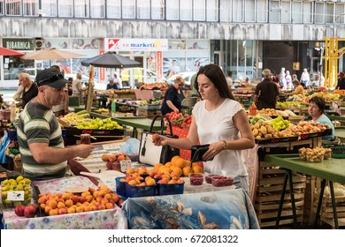 Sarajevo, Bosnia and Herzegovina - June 30, 2017: Markale Fruit and Vegetable Market of  Sarajevo.On 5 February 1994 68 people were killed after a bombardement of the serb army during the bosnian war.