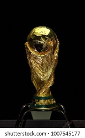 Sarajevo, Bosnia and Herzegovina, March 2014, World Cup Trophy on a black Background,  World Cup Trophy, was introduced in 1974. Made of 18 carat gold with a malachite base.