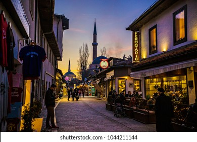 SARAJEVO, BOSNIA AND HERZEGOVINA - March 2018: Old town in Sarajevo by evening. Lights of street cafes and shops at Sarajevo center, Bosnia and Herzegovina