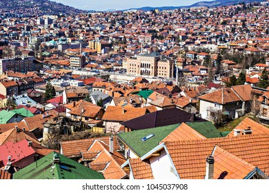 SARAJEVO, BOSNIA AND HERZEGOVINA - March 2018:  Aerial view of Sarajevo old town roofs and houses on the hills, Sarajevo, Bosnia and Herzegovina