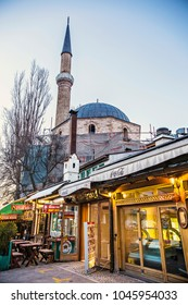 SARAJEVO, BOSNIA AND HERZEGOVINA - March 2018: Market street at old town Sarajevo, souvenir shops in Sarajevo, Bosnia and Herzegovina