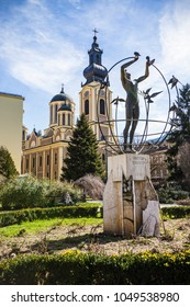 SARAJEVO, BOSNIA AND HERZEGOVINA - March 2018: Monument of All Man Multicultural in Sarajevo downtown, Bosnia and Herzegovina