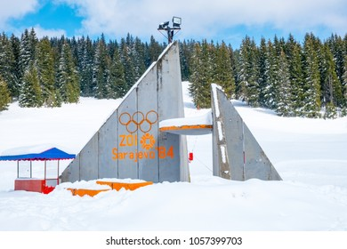 Sarajevo, Bosnia and Herzegovina - March 24, 2018. Podium of the olympic ski jumps on the mountain of Igman in Sarajevo during winter time. The podium was built for the Winter Olympic Games in 1984.