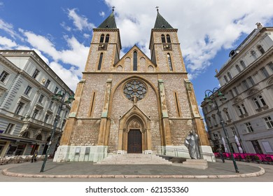 SARAJEVO, BOSNIA AND HERZEGOVINA - MARCH 27, 2017: Catholic Cathedral known also as Sacred Heart Cathedral, in Sarajevo, Bosnia and Herzegovina.