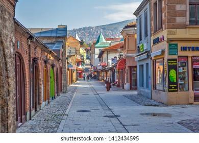 SARAJEVO, BOSNIA AND HERZEGOVINA - MAY 02, 2019: Photo of Old city. Cityscape.