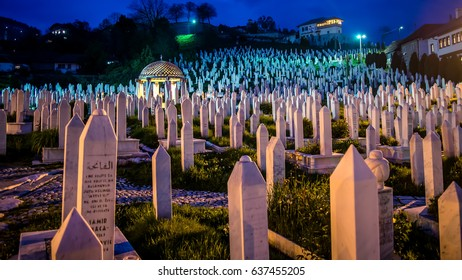 SARAJEVO, BOSNIA AND HERZEGOVINA - May 1 2014: The cemetery on the hill for people died in Bosnian War in Sarajevo, Bosnia.
