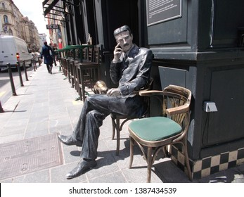 Sarajevo, Bosnia and Herzegovina - May, 2019: Statue of Nikola Tesla in front of coffee shop