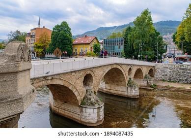 Sarajevo, Bosnia and Herzegovina   - October 02 2019: Latin Bridge, an Ottoman bridge in Sarajevo, Bosnia and Herzegovina