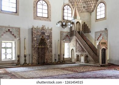 SARAJEVO, BOSNIA AND HERZEGOVINA - SEPTEMBER 13, 2015: Interior details from the Gazi Husrev-beg mosque in Sarajevo, Bosnia and Herzegovina