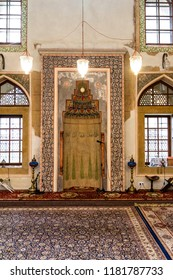 SARAJEVO / BOSNIA AND HERZEGOVINA - September 2, 2018: Interior details of the main entrance of Ali Pasha mosque in Sarajevo.