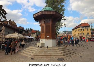 Sarajevo, Bosnia and Herzegovina - September 21 2016. Sebilj, the wooden fountain in Sarajevo Old Town's square.