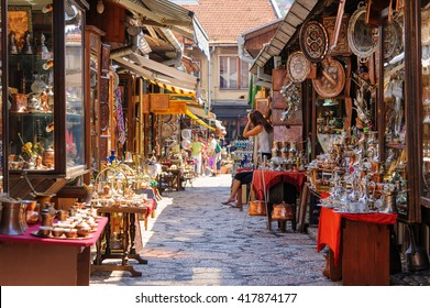 SARAJEVO, BOSNIA AND HERZEGOVINA - SEPTEMBER 4, 2009: Street with shops selling souvenirs at Bascarsija in the old city district