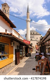 SARAJEVO, BOSNIA AND HERZEGOVINA - SEPTEMBER 4, 2009: Gazi Husrev-beg mosque and minaret as viewed from the Bascarsija market