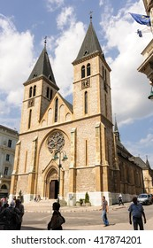 SARAJEVO, BOSNIA AND HERZEGOVINA - SEPTEMBER 4, 2009: Sacred Heart catholic cathedral in the Neo-Gothic style, with Romanesque Revival towers