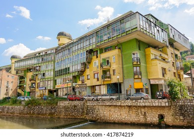 SARAJEVO, BOSNIA AND HERZEGOVINA - SEPTEMBER 4, 2009: The Parrot building, so called due to its colors and eccentric architecture