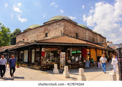 SARAJEVO, BOSNIA AND HERZEGOVINA - SEPTEMBER 4, 2009: Brusa Bezistan, the covered market in Sarajevo, Bosnia and Herzegovina.
