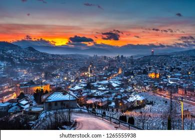 Sarajevo Bosnia and Herzegovina skyline panoramic view in winter with snow at sunset.