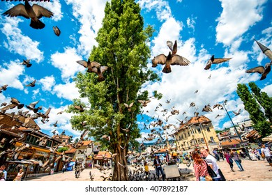 SARAJEVO, BOSNIA - HERZOGOVINA -?? CIRCA JUNE 2015: Crowded old market squire with pigeons on the north bank of the river Miljacka in the municipality of Stari Grad in Sarajevo.