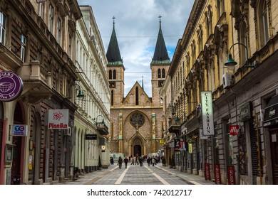 SARAJEVO, BOSNIA - HERZOGOVINA - JUNE 28, 2016: The sacred heart cathedral in Sarajevo in a beautiful summer day, Bosnia and Herzegovina on June 28, 2016