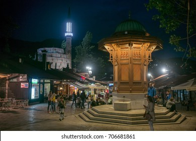 SARAJEVO, BOSNIA - JUNE 02: Old town center Bascarsija on June 02, 2017 in Sarajevo, Bosnia. The Bascarsija is the old town of Sarajevo in ottoman style.