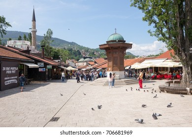 SARAJEVO, BOSNIA - JUNE 03: Old town center Bascarsija on June 03, 2017 in Sarajevo, Bosnia. The Bascarsija is the old town of Sarajevo in ottoman style.