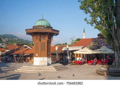 SARAJEVO, BOSNIA - JUNE 04: Old town center Bascarsija on June 04, 2017 in Sarajevo, Bosnia. The Bascarsija is the old town of Sarajevo in ottoman style.