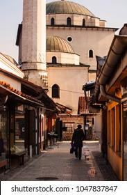 SARAJEVO, BOSNIA-ERZEGOVINA - FEBRUARY, 16: Street of Sarajevo next to the Gazi Husrev-bey Mosque in Sarajevo on February 16, 2018