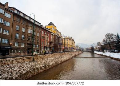 SARAJEVO, BOSNIA-ERZEGOVINA - FEBRUARY, 16: View of the Miljacka river on February 16, 2018