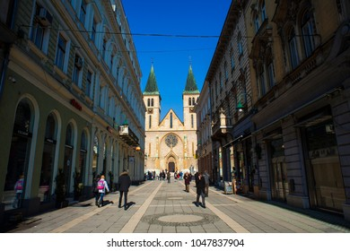 SARAJEVO, BOSNIA-ERZEGOVINA  - FEBRUARY, 16: View of the The Sacred Heart Cathedral,  Catholic church in the old town of Sarajevo. Erected 1884-1889 on February 16, 2018