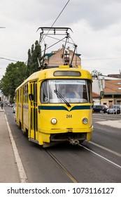 Sarajevo, Bosnia-Herzegovina, July 16 2017: Sarajevo Tram, Tatra K2 series in the suburb of Sarajevo