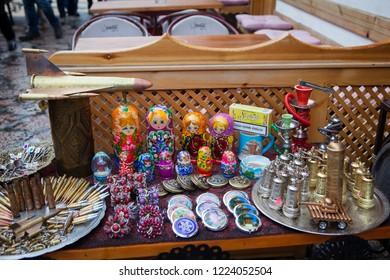 Sarajevo,  Sarajevo Canton / Bosnia and Herzegovina - 04.26.2014: souvenir shops on a market in the center of the old city, Sarajevo, Bosnia and Herzegovina