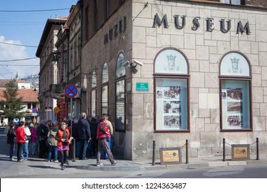 Sarajevo,  Sarajevo Canton / Bosnia and Herzegovina - 04.26.2014: Location Near the Latin Bridge, Sarajevo/ the place where has been killed  Franz Ferdinand.  Assassination of Archduke Franz Ferdinand