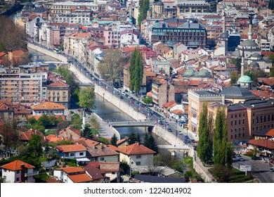Sarajevo,   Sarajevo Canton / Bosnia and Herzegovina - 04.27.2014: Beautiful top view of Sarajevo