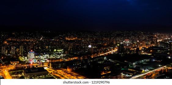Sarajevo city by night from Avaz Twist Tower