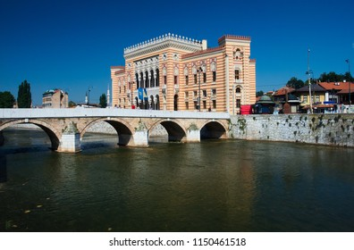 Sarajevo City Hall, known as Vijećnica, is located in the city center of Sarajevo on the bank of Miljacka river.