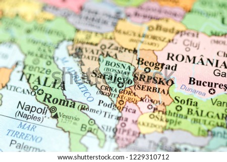 Sarajevo Europe On Geography Map Stock Photo Edit Now 1229310712