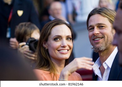 SARAJEVO - JULY 30: Angelina Jolie and Brad Pitt attends for closing of 17th Sarajevo Film Festival on July 30, 2011 in Sarajevo