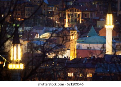 Sarajevo multicultural city view.Church and Mosque in background