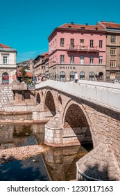 SARAJEVO, November 2017, The Latin Bridge on the Miljacka River flowing from the center of Sarajevo. The assassination of the First World War took place at the end of this bridge.