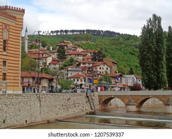 Sarajevo Old Town and the Seher-cehajina Bridge over Miljacka River, Sarajevo, Bosnia and Herzegovina on May 2nd 2016